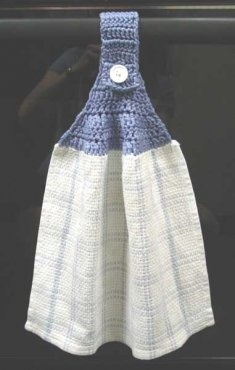 Crochet towel topper.  I do make these and they are great in the kitchen.  Free Pattern.