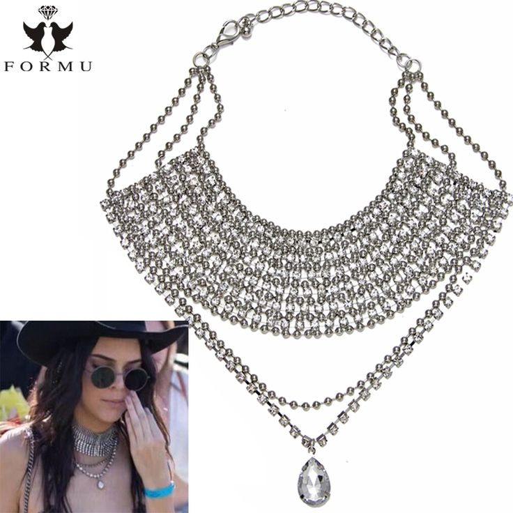 Latest Luxury Choker Necklace Women Big Heart Crystal Inlaid Metal Charm Exo Pendant Statement Collar Necklace Jewelry NK842