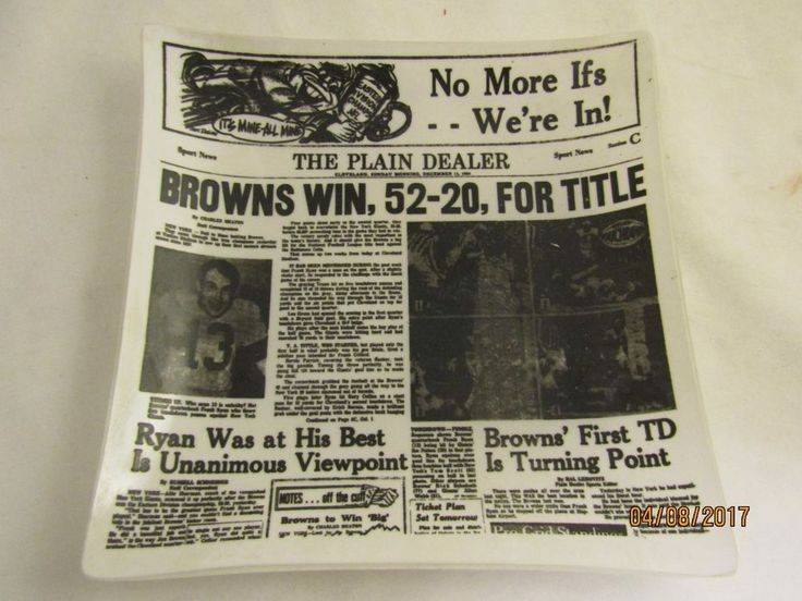 1964 Plain Dealer Cleveland Browns Championship Football Memorabilia Glass Dish  #ClevelandBrowns