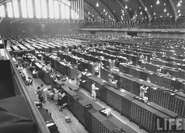 The main file room at FBI headquarters in Washington DC, 1944