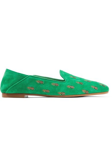 Aquazzura - Ananas Embroidered Suede Slippers - Green - IT35.5