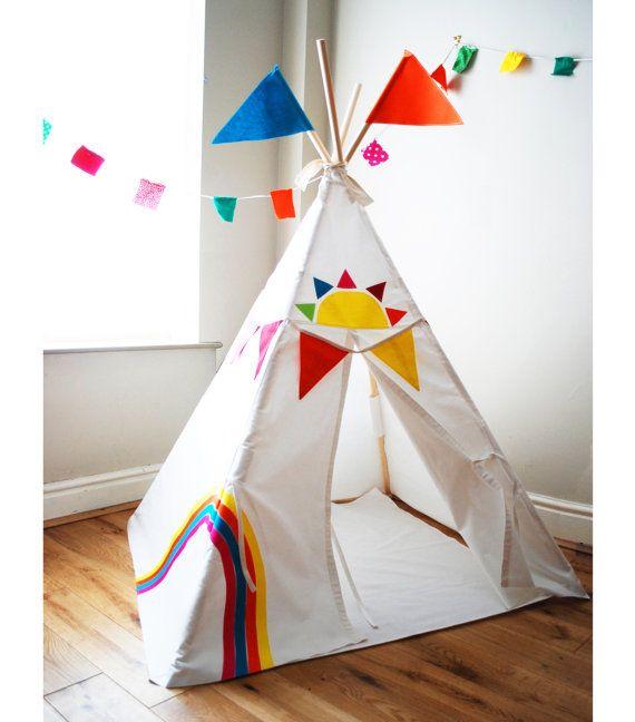 Rainbow play tent teepee  sc 1 st  Pinterest & 73 best Teepee and Tents images on Pinterest | Tents Teepee tent ...