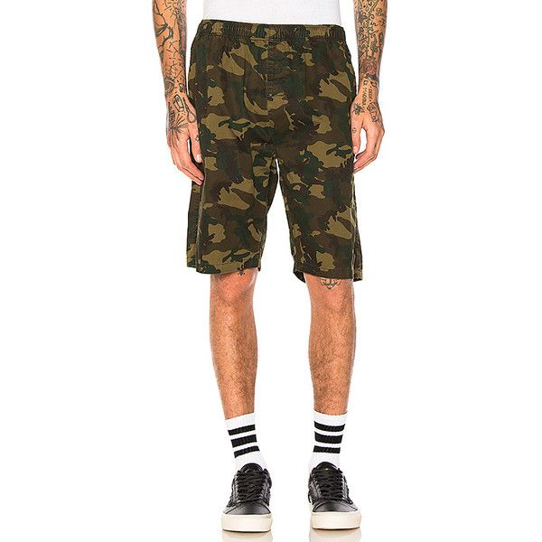 Stussy Camo Beach Short (94 CAD) ❤ liked on Polyvore featuring men's fashion, men's clothing, men's shorts, shorts, mens camo shorts, mens cotton shorts, camouflage mens shorts, mens short length shorts and short mens clothing