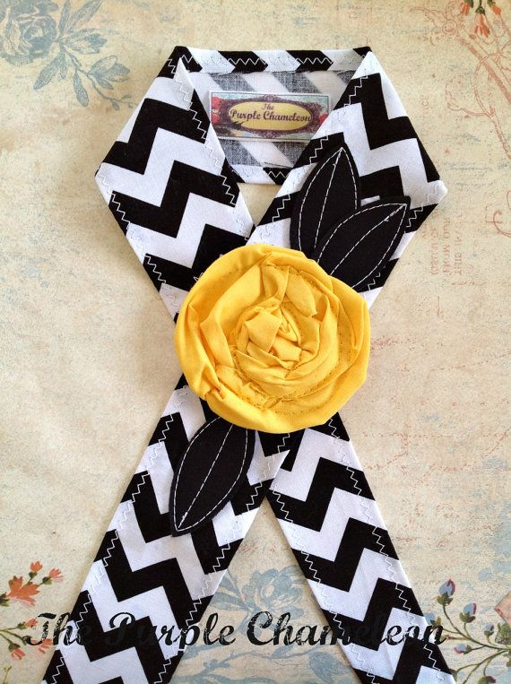 Black and White Chevron Headwrap,  Headband, Tie on Headband with Lemon Yellow Flower on Etsy, Sold