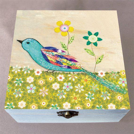 Wooden Box - Blue Bird Sewing Box - Large Wood Box - Jewelry Box - Wooden Sewing Box - Needlecraft Box - Sewing Storage - Jewelry Storage
