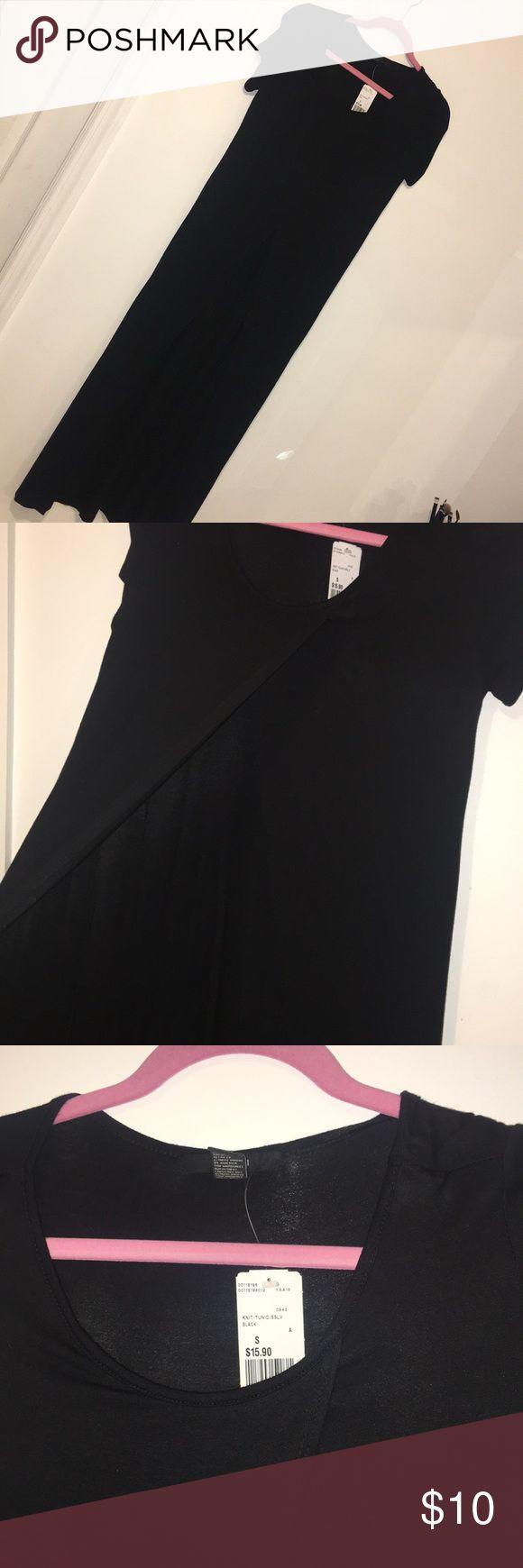 Long black tunic NWT Long black tunic. Shirt that drapes all the way down to the floor Tops Tunics