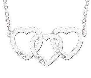 Gepersonaliseerde ketting 'Trio Hearts' (inclusief ketting)