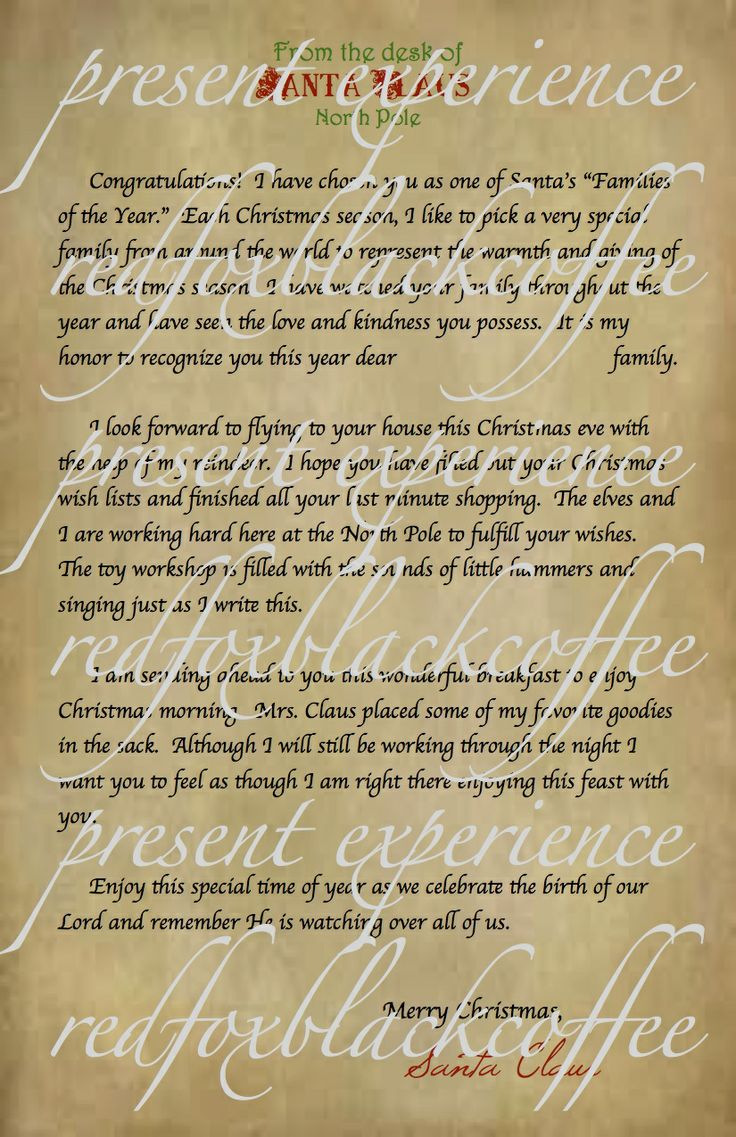 sample letter from Santa | Breakfast with Santa - Present Experience ...