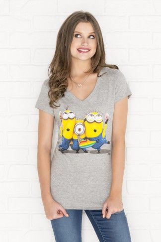 Heather grey Minions V-neck t-shirt - Clothing