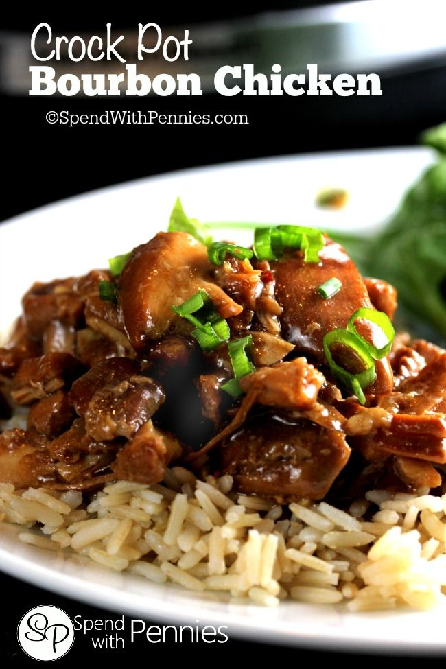 This delicious Bourbon Chicken recipe is one of our favorites! It simmers all day in the crock pot with little fuss!  Perfect served over rice!