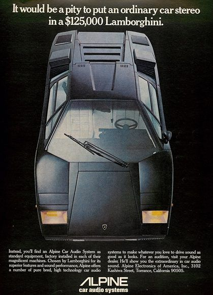 1980 Alpine Car Audio Lamborghini Ad