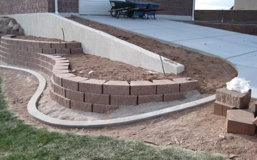 Idea for below retaining wall outdoor spaces pinterest for Landscape blocks