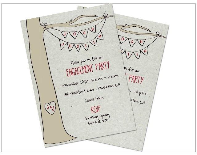Outdoor Engagement Party invitation.. this is what I want! Except sub my purple for the red.
