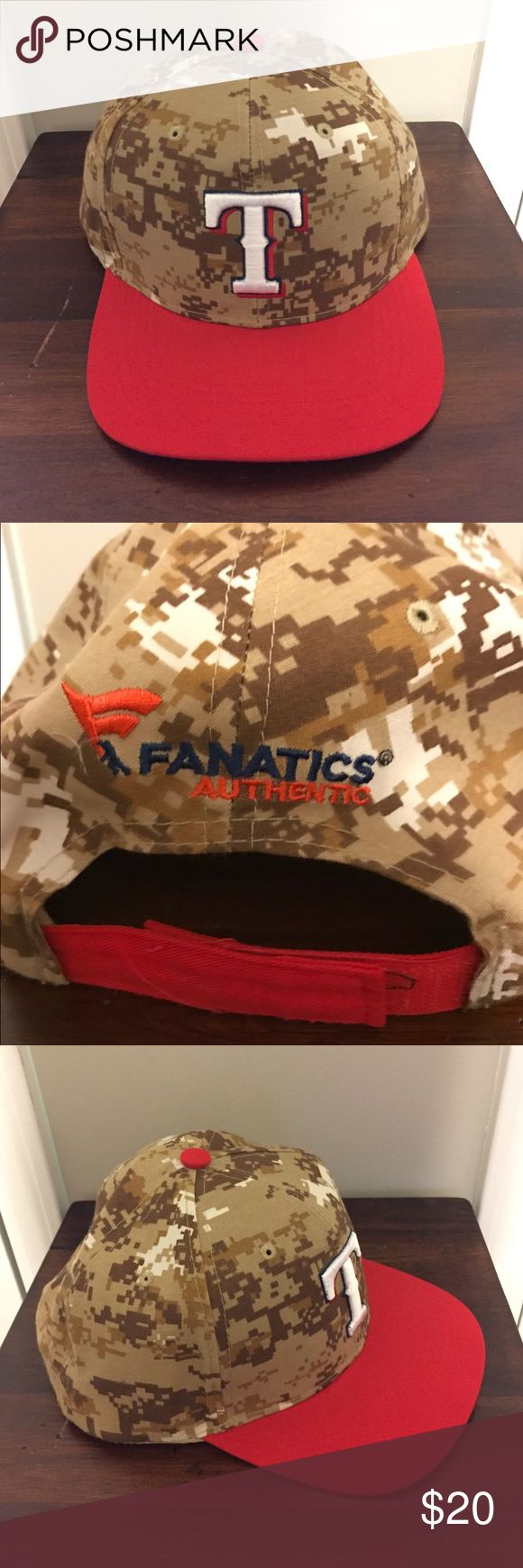 Authentic Texas Rangers Flat Brim Cap!⚾️ New without tags!!  AUTHENTIC Texas Rangers Desert Digital Camo Flat Brim Cap!! Bought on the FANATICS website. Never worn. It has an adjustable velcro strap in back as seen in picture. Still has the cardboard piece inside of hat. Baseball season is coming up soon so be sure to get your deal today!! Feel free to ask any questions. All of our prices are negotiable!! ⚾️❤️️ Fanatics Accessories Hats