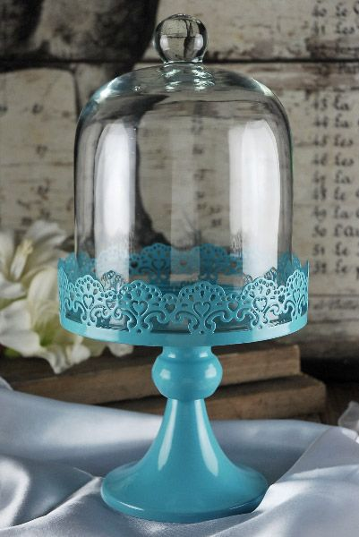 Cake Stand Blue Pedestal 11in With Glass Dome Cover 20 I