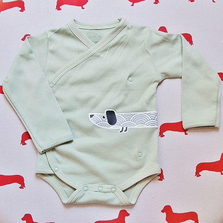Little Sausage Organic Cotton Long Sleeve Bodysuit Kimono Onesie for dachshund sausage dog lovers green unisex baby by ShanonaDesigns on Etsy