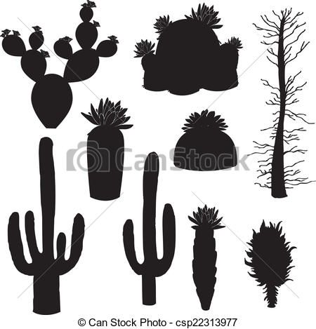 silhouette-vector, cactus and tree | Vector Ornament ...