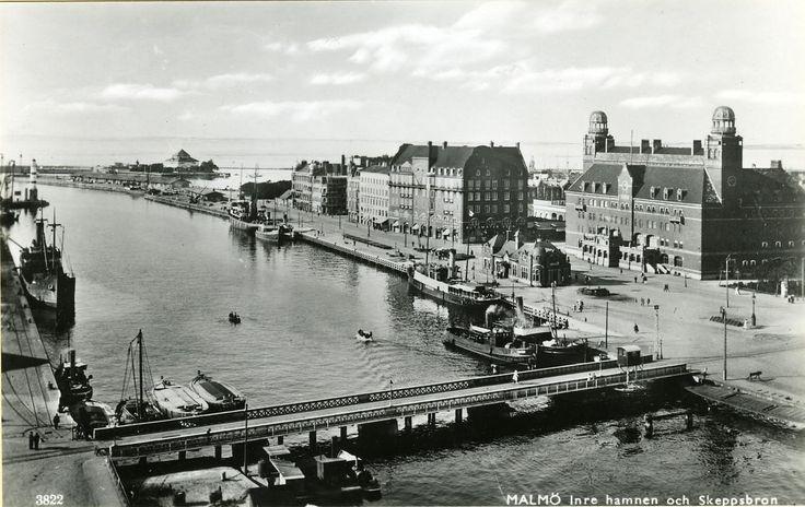 Malmö. Inre hamnen och Skeppsbron  1920 tal