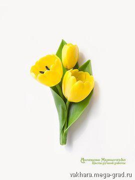 """Брошь """"Тюльпаны"""" - полимерная глина, дизайнерская брошь. МегаГрад - город мастеров"""