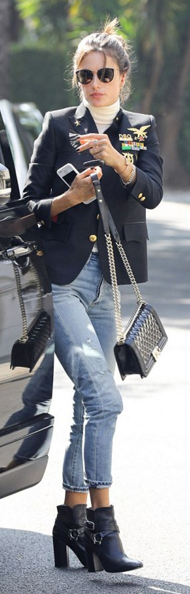 Alessandra Ambrosio: Jacket – Dsquared2  Purse – Chanel  Sunglasses – Linda Farrow  Jeans – Citizens of Humanity