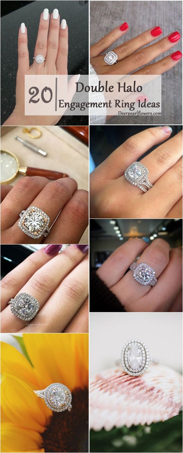double halo diamond engagement rings and wedding rings / http://www.deerpearlflowers.com/double-halo-engagement-rings/