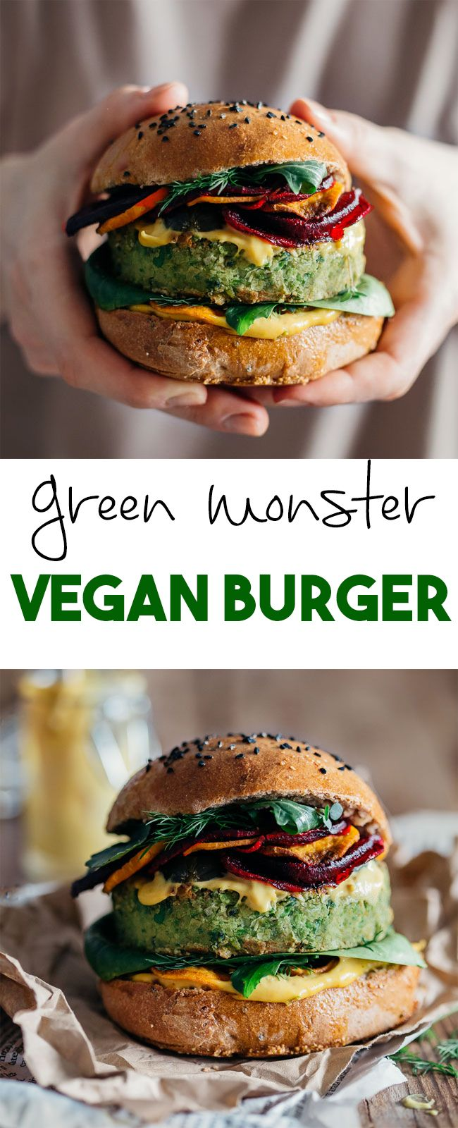 Green Monster Vegan Burger with sweet corn and peas, topped with beet and sweet potato chips and bathed in spicy vegan mayo. Jamie Oliver & Ellie Goulding recipe | TheAwesomeGreen.com