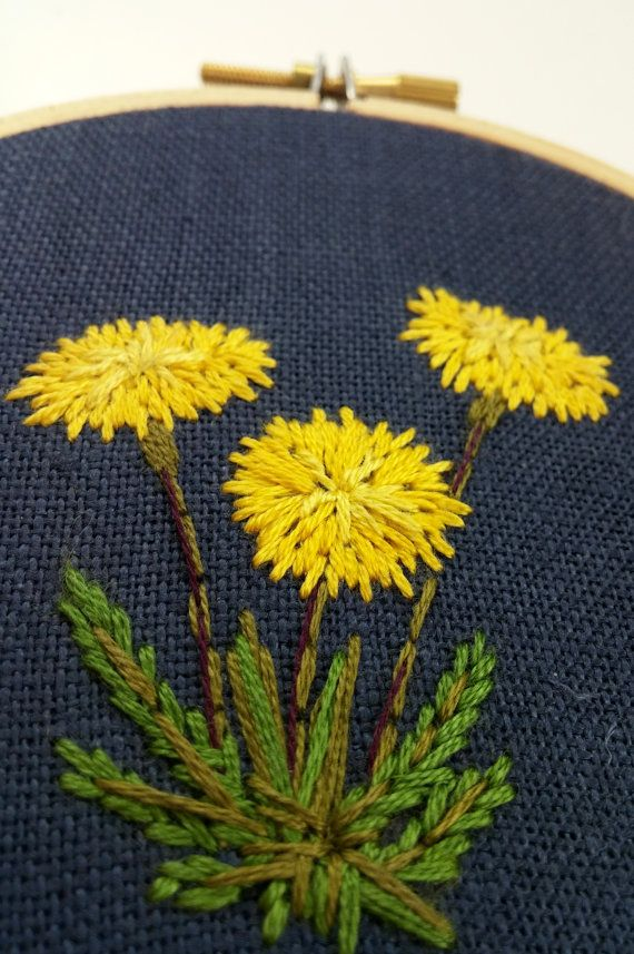 Hand embroidered dandelion; Floral embroidery; Embroidered hoop art; House…