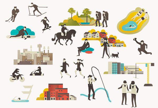 Identity Illustrations - City of Hyvinkää (Finland) by Vesa Sammalisto, via Behance