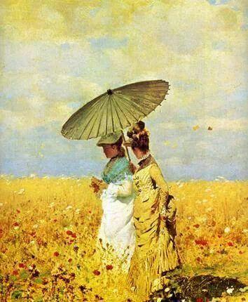 "Giuseppe Gaetano De Nittis (Italian, 1846-1884) - ""Tra le spighe del grano"" (In the fields), 1873 - Detail"