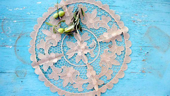 Handmade Vintage Venice Lace Doily 16'' round by BelladonaVintage