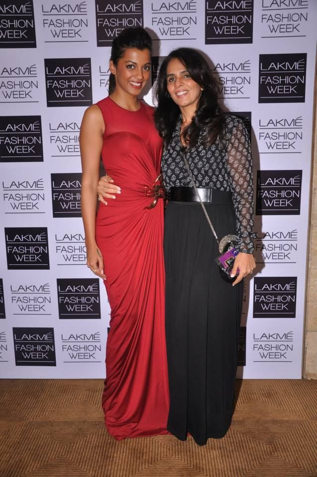 Mugdha Godse with Anita Dongre at the Global Desi with LIVA show - Lakme Fashion Week 2013