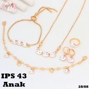 Xuping Set Perhiasan Xuping Anak Hello Kitty Cat Putih Pink PS43    Fast Respon Pin BB : 5F81C0E7 No Hp : 081223335084 order mudah Via WA klik http://bit.ly/minatxupingPPI  bahan dasar tembaga (bukan besi). dilapisi RODHIUM yang biasanya digunakan untuk melapisi emas di toko-toko emas 18k.Permata Zircon, Bisa di sepuh ulang dan anti alergi.
