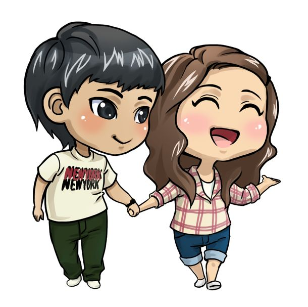 chibi, couple, cute, happy, love, together
