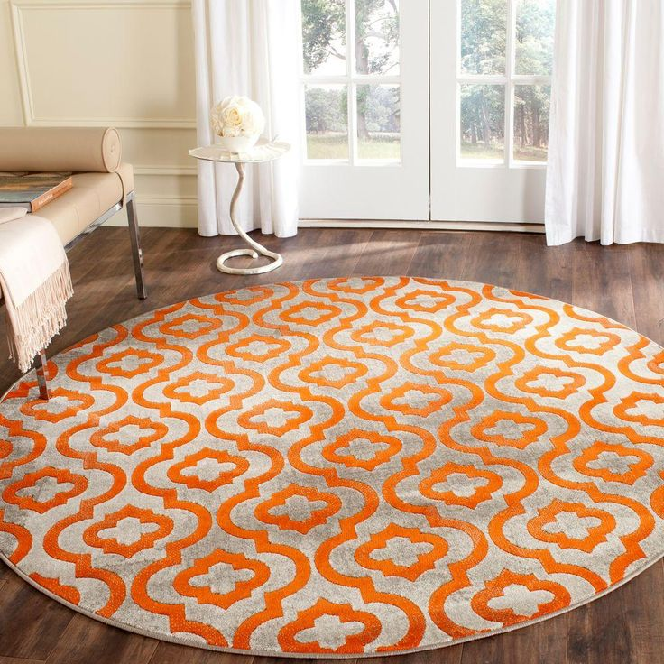 Porcello Light Grey/Orange 5 ft. 1 in. x 5 ft. 1 in. Round Area Rug