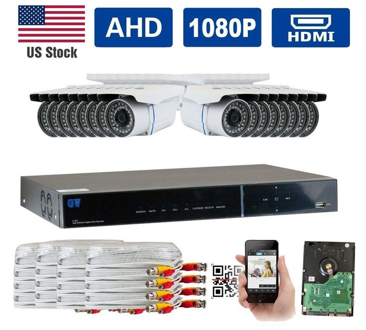 GW Security New AHD 16CH 1080P DVR Video Surveillance Camera System 16 1080P 2.1 Megapixel Outdoor Weatherproof 100ft IR LED Night Vision Bullet Security Camera
