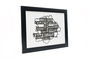 Manchester Typography Paper Cut Map
