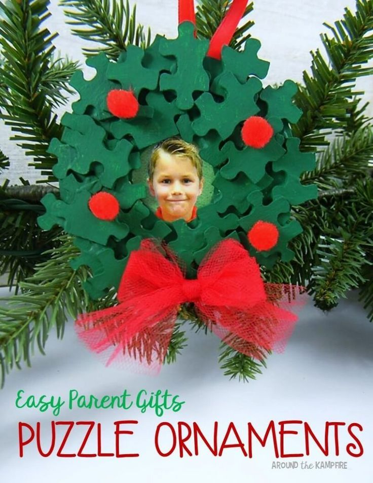 Easy parent Christmas gift ideas- Puzzle piece ornaments with students' pictures.