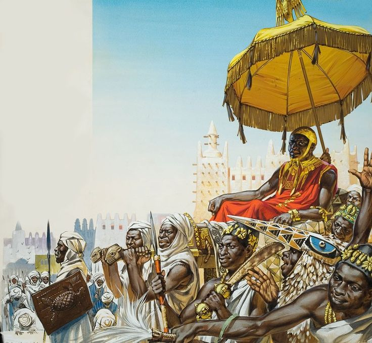 a great illustration of the king Musa I of Mali with his court in the malian empire capital timbuktu, he came to the throne of the mali empire in 1307 and reigned for over twenty years, he was perh...
