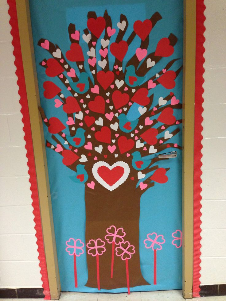 Classroom valentines day door decoration display