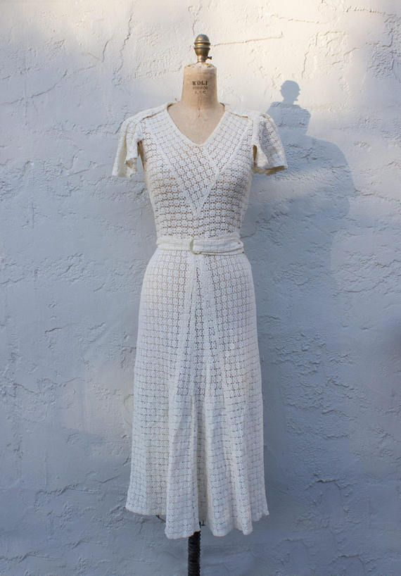 Vintage 1930s Cream Ivory Lace Dress As-is