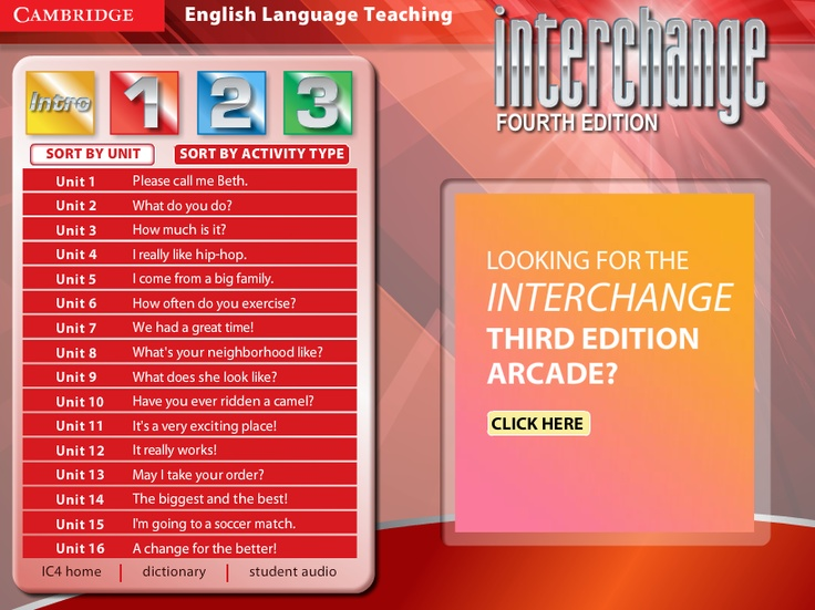 Interchange 4th Edition Arcade: Cambridge University Press -  Level 1 Menu