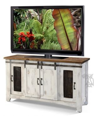 "Solid Pine Wood White Pueblo 60"" TV Stand with Sliding Doors in White & Natural Finish"