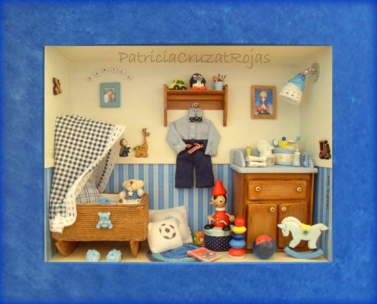 Cuadro espacio ni o beb con miniaturas medidas 39x33x10cm - Marcos con profundidad ...