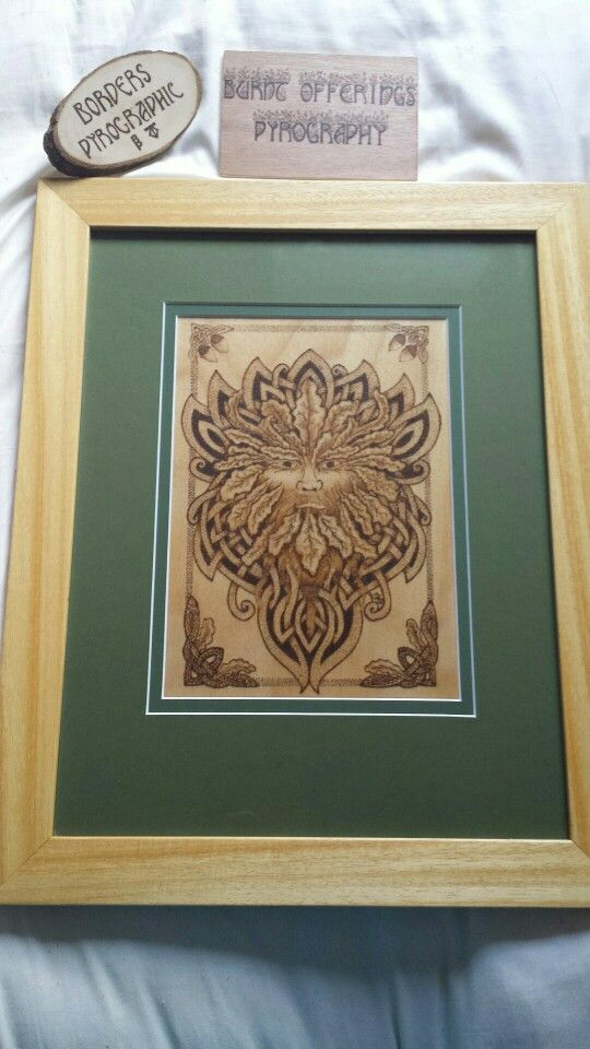 Celtic Green Man pyrographed on Birch by myself