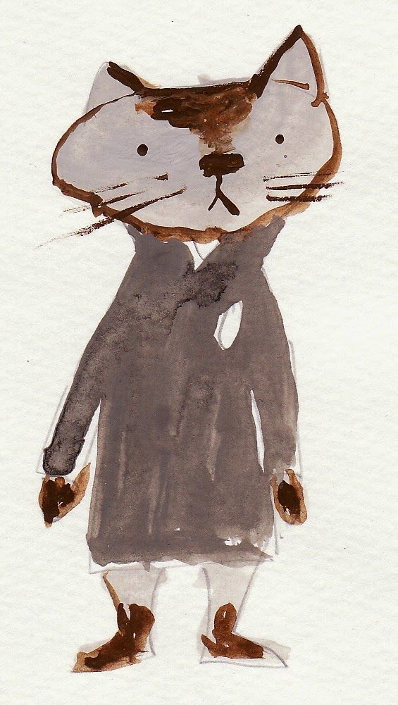 Illustration by Japanese picture book writer Akiko Kato inspiration for kids how to dress and draw a cat