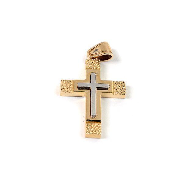Σταυρός  δίχρωμος χρυσό Κ14  7835