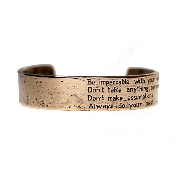 House of Alaia Four Agreements Reminder Cuff In Bronze Small VHPkqQbF9