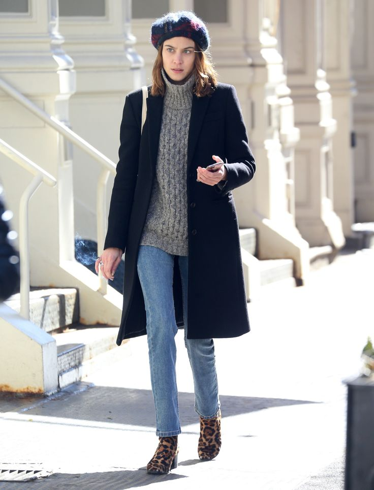 Alexa's simple outfit got a fun boost, thanks to leopard-print boots and a plaid beret.