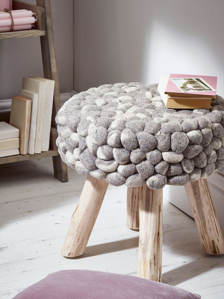 Carefully crafted from natural wool in soft shades of grey and white, our small chunky felt topped stool instantly adds texture and colour to your living space.  The perfect size to rest your feet, each lightweight pebble stool includes four stylish eucalyptus wood legs with hidden plastic bases.