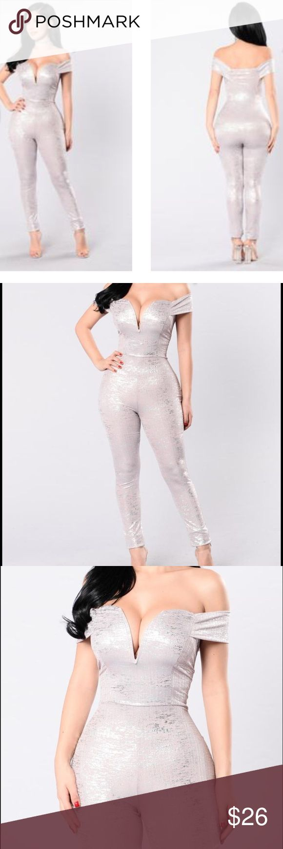 Fashion Nova Just me and my baby Jumpsuit Silver jumpsuit NWT never worn Fashion Nova Pants Jumpsuits & Rompers